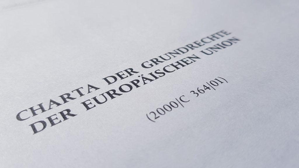 Titelseite der Charta der Grundrechte der Europäischen Union